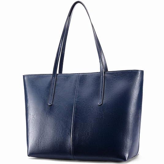 6973ecd214969 Ritzo by M ~ Ledertasche Damen groß Tasche Damen Shopper aus echtem Vintage  Leder in Schwarz Cognac Braun und Blau (Blau)  Amazon.de  Schuhe    Handtaschen