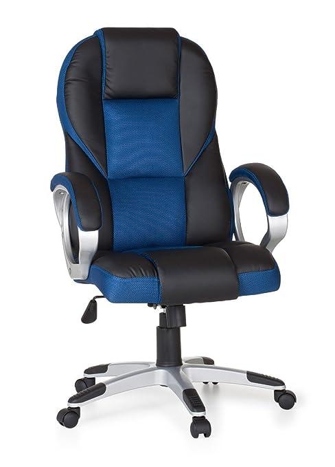 AMSTYLE – Silla Race Azul Gaming Racer de Oficina giratoria 120 kg Mecanismo de sincronización Escritorio