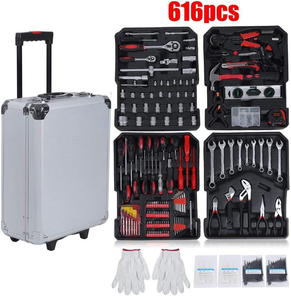 Caja de herramientas llena de 616 piezas, caja de herramientas, maletín de herramientas con ruedas de aluminio desmontable, incluye accesorios versátiles y guantes de trabajo: Amazon.es: Bricolaje y herramientas