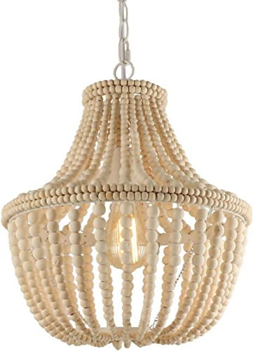 Anmytek Wood Beaded Pendant Light Modern Farmhouse Chandelier Lamp