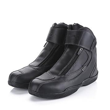 Botas Negras de la Motocicleta Cuero Genuino de la Vaca Gancho Impermeable Ocultas Botas Rojas de