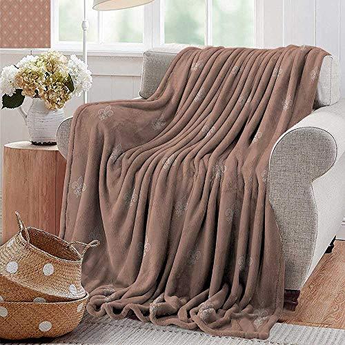 Flannel Blanket,Fleur De Lis Decor Collection,Fleur De Lis Pattern Imperial Nobility Interior Decoration Ancient European Art,Tan,Extra Cozy, Machine Washable, Comfortable Home Decor 60