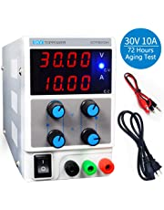 LETOUR Variable DC Power Supply 30V 10A Regulated Power mA Display 3010D Adjustable Power Supply 300W Foot Power Low Noise with Alligator Cable and AC 110V Power Cord