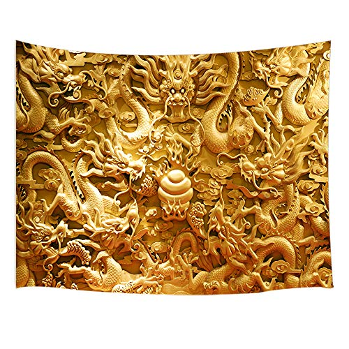 JAWO Asian Decor Tapestry Wall Hanging, Chinese Golden Dragon and Cloud Mural, Polyester Fabric Wall Tapestry for Home Living Room Bedroom Dorm Decor 80W X 60L Inches