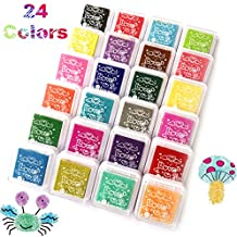 Alled 24 Colors Craft Finger Ink Pad,Fingerpaint Rainbow Washable Stamp Pads Set for Rubber Stamps Partner Color Card Making and Kids DIY Scrapbooking (24 color ink pad)