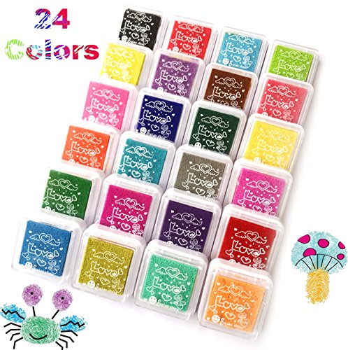 t Finger Ink Pad,Fingerpaint Rainbow Washable Stamp Pads Set for Rubber Stamps Partner Color Card Making and Kids DIY Scrapbooking (24 color ink pad) (Artcraft Scrapbooking)