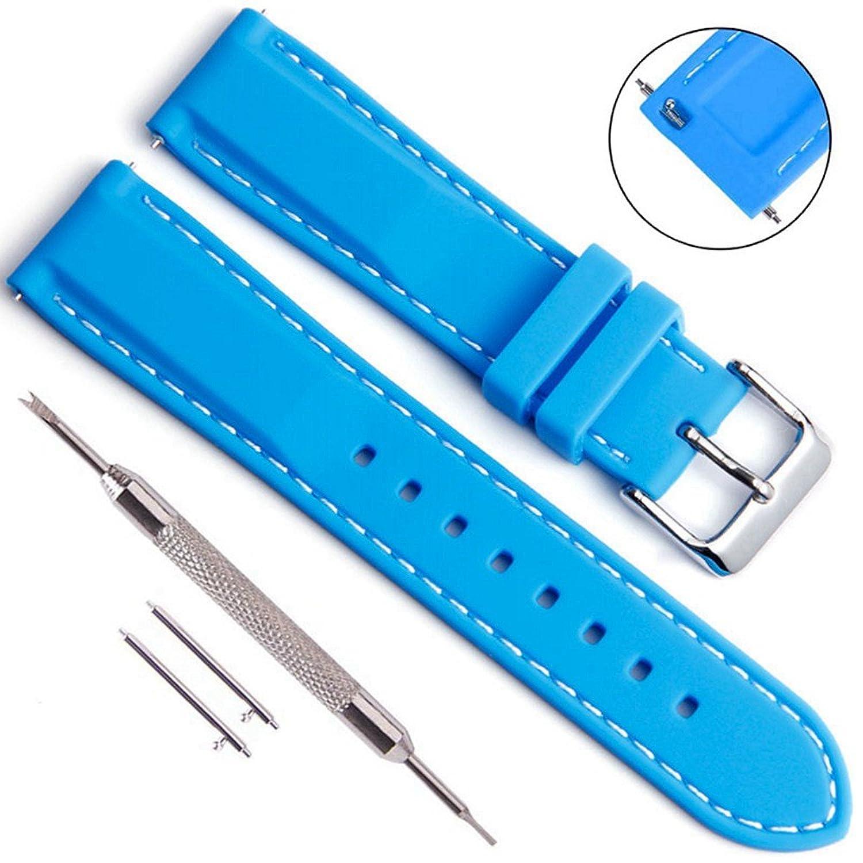 シリコンゴムDiversスポーツ交換用時計バンドストラップ(選択肢のバックル) 18 mm 20 mm 22 mm 24 mmの男性と女性 24MM ブルー  ブルー 24MM B07B7C9LPC