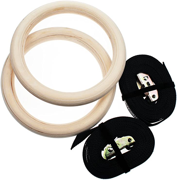 Pellor Wooden Olympic Gymnastic Rings Gym fitness Training Exercise Straps pairs