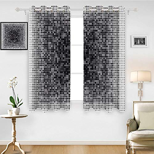 (SATVSHOP Thermal Insulating Blackout Curtain- 108W x 84L Inch- Patterned Drape for Glass Door.Modern Art Home Digital Futuristic Pixel TechArt with Dots Spots Artificial Pattern Grey Black.)