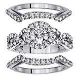 2.56 CT TW Braided Mount Halo Diamond Engagement Bridal Set with 2 Matching Bands in 14k White Gold