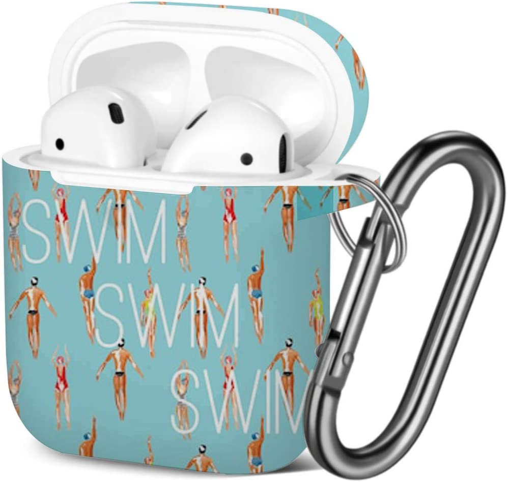 Compatible with AirPods 2 and 1 Shockproof Soft TPU Gel Case Cover with Keychain Carabiner for Apple AirPods Watercolor Swimmer Men Women Engaged