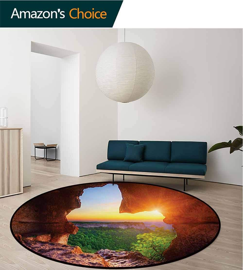 RUGSMAT Natural Cave Non-Slip Area Rug Pad Round,Canyon at Sunset Time from The Cave Exploration Theme Secret Perspective Protect Floors While Securing Rug Making Vacuuming,Round-71 Inch