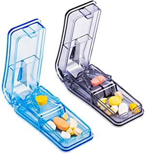 Pill Splitter Cutter for Small and Large Pills, V-Shaped Medicine Cutter with Shape Blade for Vitamins, Pills, Medicines(2 Pack)