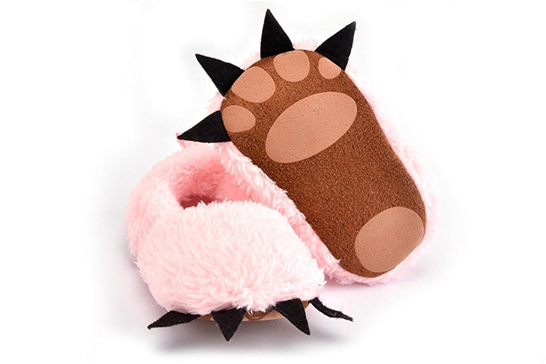 Cute Bear Paw Animal Slipper Boots Soft Bottom Winter Non Slip Toddler Crib Shoes for Baby