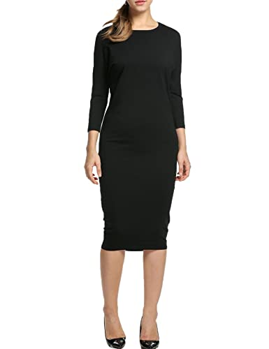 HOTOUCH Women Casual Batwing Long Sleeve Solid Slim Midi Dress