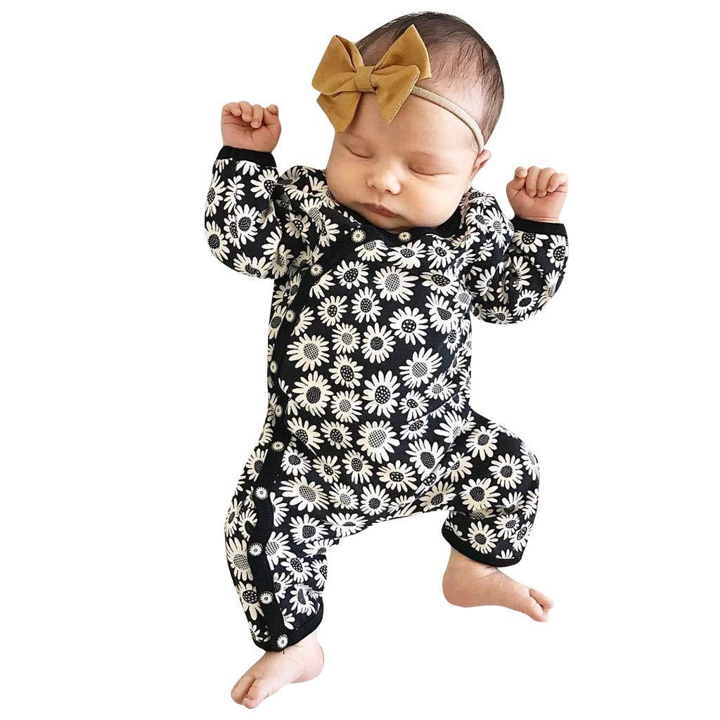 Newborn Infant Baby Boy Girl Long Jumpsuit Romper Bodysuit Floral Clothes Outfit