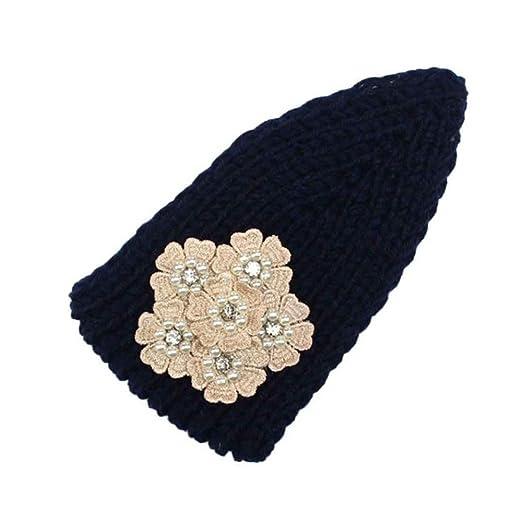 Deamyth Winter Women Girl Knitting Wool Headband Flowers Hairband (Black) 9d11c15541