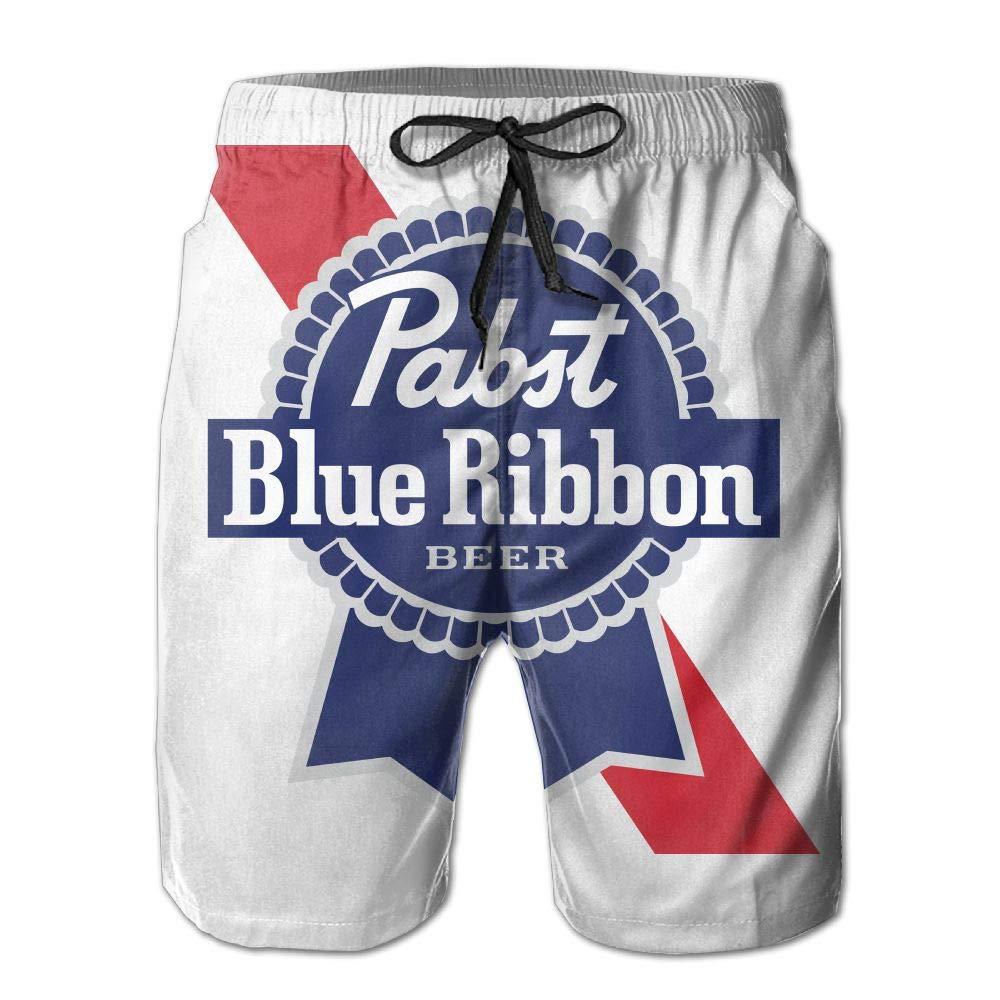773d03a370 Swimwear POOP LOOL Mens Swim Trunks Pabst Blue Ribbon Beer Logo Quick Dry  Beach Surfing Board Shorts