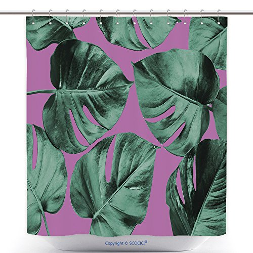vanfan-Cool Shower Curtains Colorized Monstera Leaves In Different Color Background Abstract Background Ideal For Wallpaper Polyester Bathroom Shower Curtain Set With Hooks(70 x 92 - Hawaii Stores Outlet In