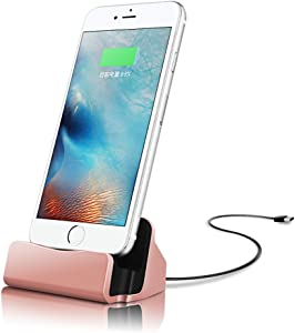 iMoreGro Phone Dock Charging Stand Dock Station Compatible with Phone XS/X/8/8 Plus/7/7Plus/6/6 Plus/6s/6s Plus/5/SE(Rose Gold)