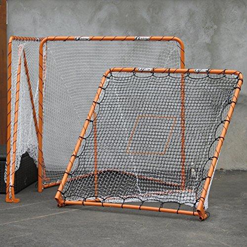 EZGoal 87615 EZ Goal Official Regulation Folding Metal Lacrosse Goal with Throwback Kit - 6' x 6' - Ez Fold Goal