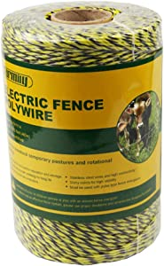Farmily Portable Electric Fence Polywire 1312 Feet 400 Meter 6 Conductor Yellow and Black Color