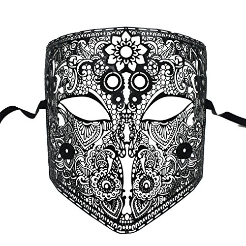 Exotic Party Feather Face Mask (Laser Cut Metal Masquerade Mask Venetian Mask for Women Men)