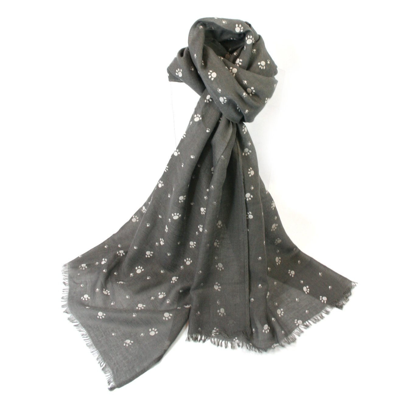 LilyRosa/® Womens Paw Print Pattern Cotton Blend Cats Dogs Paws Scarf Dog Cat Grey White Cream Black Scarf