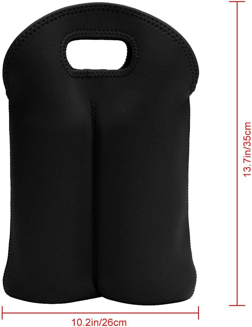 Neoprene Insulated Bag for Carrying Champagne//Wine Bottles x 2 Black red