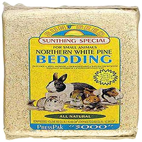 Sun Seed Company SSS18015 4-Pack Northern White Pine Press Pack Small Animal Bedding, 2500 Cubic Inch