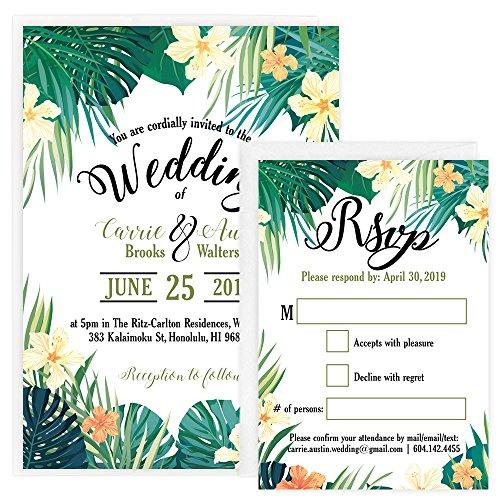 Custom - Tropical Beach Wedding Save The Date Invitation Set - Set of 25, Personalized Wedding Invitation (Invitation + RSVP + Envelope)