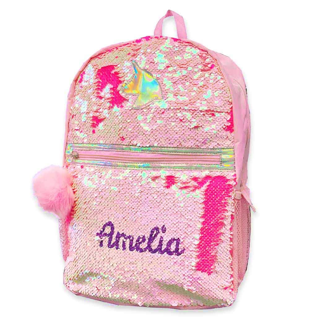 Personalized Magic Reversible Sequins Backpack (Unicorn)