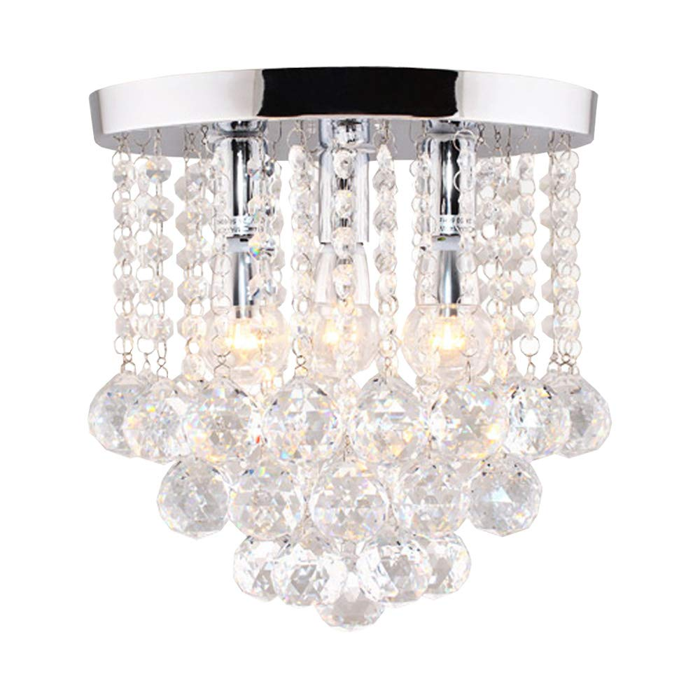 Surpars House Crystal Chandelier,3 Lights,11'' W, 10'' H,Silver