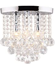 "OLLBAG Crystal Chandelier,3 Lights,11"" W, 10"" H,Silver"