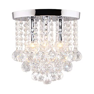 Surpars House Crystal Chandelier,3 Lights,11  W, 10  H,Silver