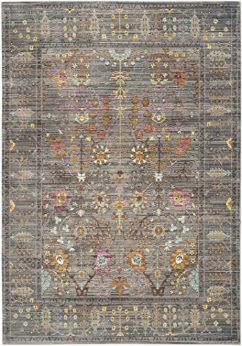 Safavieh Valencia Collection VAL108C Grey and Multi Vintage Distressed Silky Polyester Area Rug (5' x 8') (Polyester Rug)