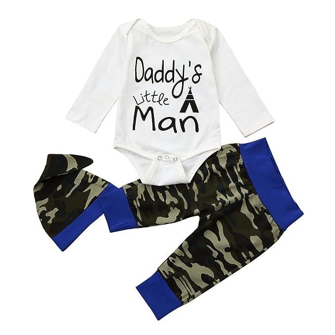 Yannerr 3pcs Bebé niño texto camiseta tops mono+pantalones camuflaje +Sombrero conjunto, Recién