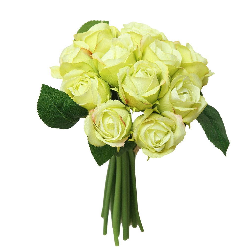 Yattafasion 11 Head Artificial Flower Roses for Bridal Bouquet Wedding Party Home Outdoor Flower Decoration
