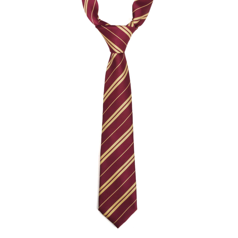 Landisun Jungen Krawatte Rot Red and Yellow Stripe Small