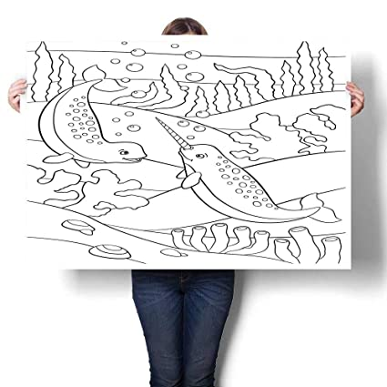 Amazon Com Landscape Canvas Coloring Pages Two Little Cute Narwhals