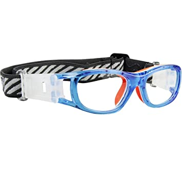 89d3b97652e Ponosoon Sports Goggles Glasses for Kids For Basketball Football Volleyball  Hockey 1812 (Transparent Blue)