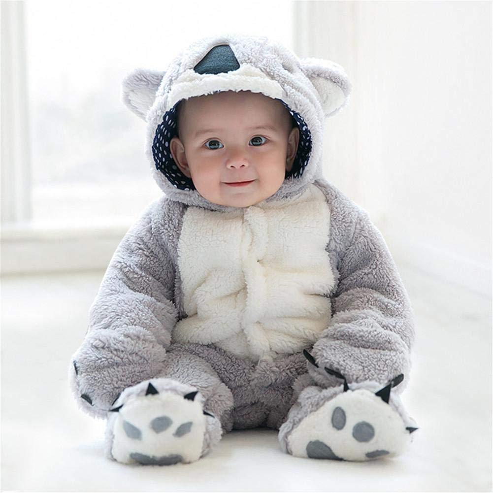 Pushally Otoño-Invierno Infante grueso pelele lindo dibujos animados oso forma de oso niño cálido forro polar sudadera con capucha en forma de animal ...