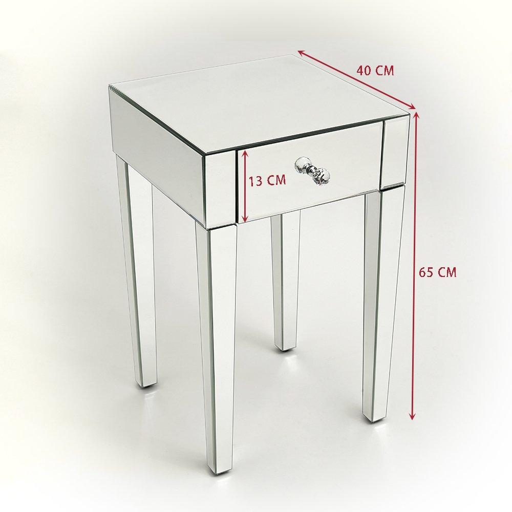 Taille: 40 * 40 * 65cm Anaelle Pandamoto Table de Chevet Miroir Meuble de Rangement en Verre avec 1 Tiroir sur/Salon Chambre Bureau Salle de Bains etc Poids: 18kg