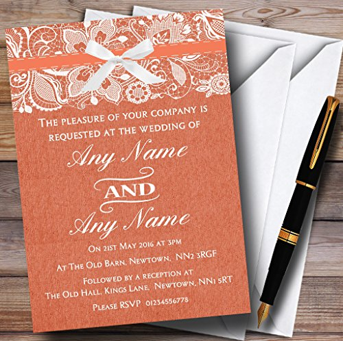 Vintage Coral Burlap & Lace Personalized Wedding Invitations (Coral Invitations)