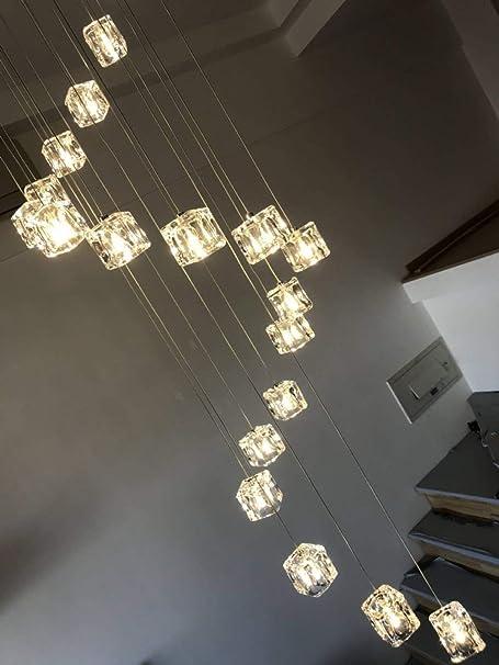 TongN-lights 16/25 Bolas de Vidrio Escalera Araña Larga/Luces múltiples/Restaurante Minimalista Moderno Sala de Estar Creativa Escaleras en Espiral Araña Cristal Sombra: Amazon.es: Hogar
