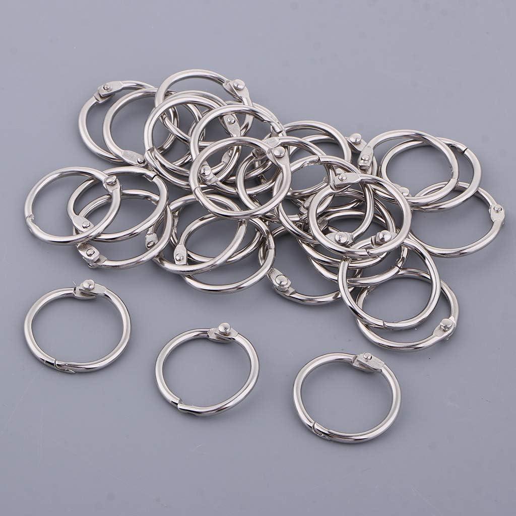 14 mm Fenteer 10//20//30 Sets Buch Ring Kleine Loose Leaf Binder Ringe Schl/üsselanh/änger