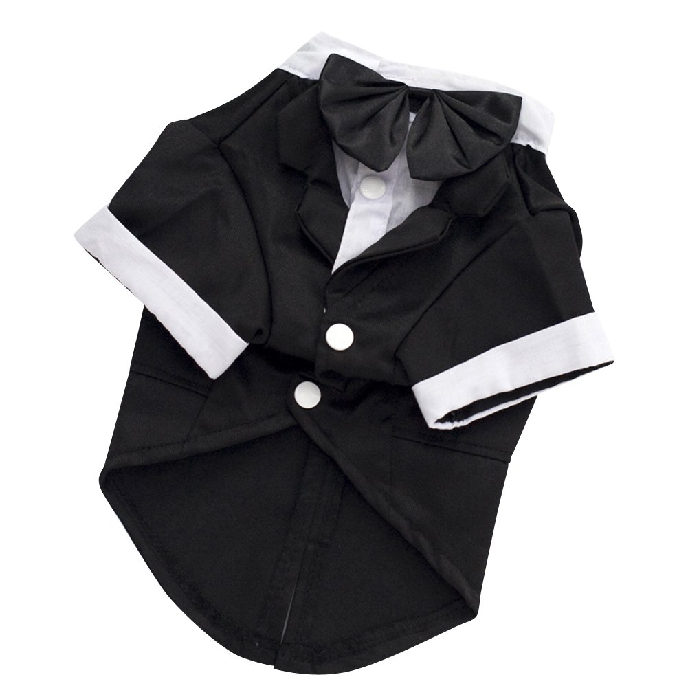 Kuoser Dog Shirt Puppy Pet Small Dog Clothes, Stylish Suit Bow Tie Costume, Wedding Shirt Formal Tuxedo with Black Tie, Dog Prince Wedding Bow Tie Suit (L(Back: 12'',Chest: 17'',Neck:12''), Black) by Kuoser (Image #3)