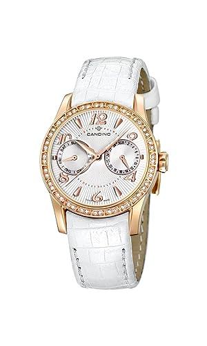 Candino C4448/4 - Reloj analógico de cuarzo para mujer, correa de cuero color blanco: Amazon.es: Relojes