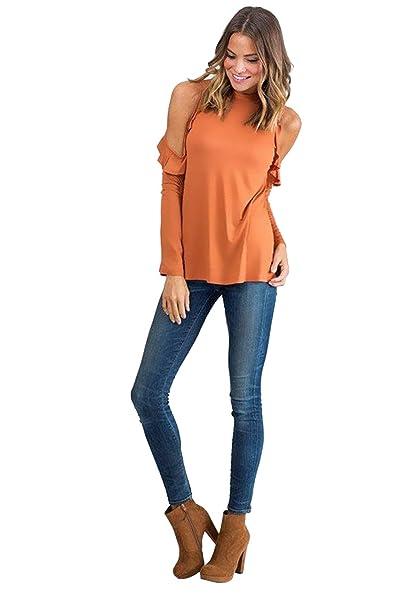 8da59c52f4 Landove Camisas Hombros Descubiertos Casual Colores Lisos Manga Corta in  Tirantes Camiseta Cuello Barco Moda uelta