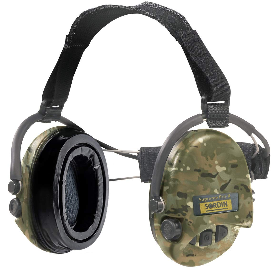 Sordin Supreme PRO X - Electronic Safety Earmuff for Shooting with Neckband - Hearing Protection with Camo Cups - SNR: 25db